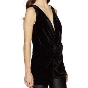 Kenneth Cole Small Faux Wrap Velvet Sleeveless Top